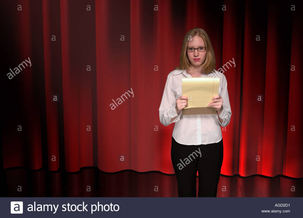Lifestyle stock photo of teen girl on stage